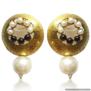 Kshitij Jewels Peral Drop Golden Round Earrings