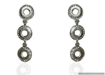 Kshitij Jewels White Stone Interconnected Silver Circles Earrings