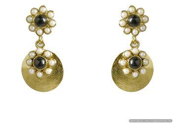 Kshitij Jewels Black Flower Golden Earrings