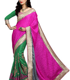 Buy Pink embroidered jacquard saree with blouse party-wear-saree online