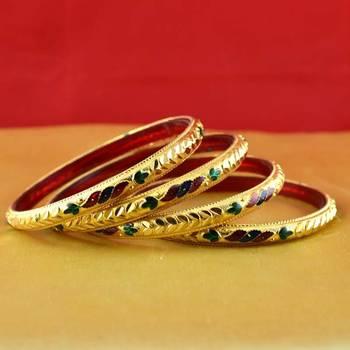 Rajasthani gokharoo,kara churi meenakari,moti,cz,stone,bangles size-2.4,2.6