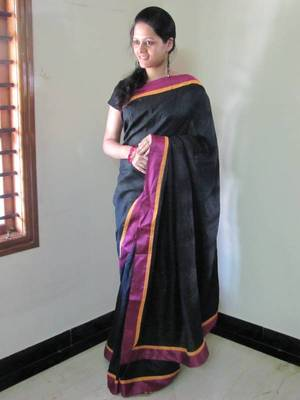 Scintilating Black Tussar Silk Designer Saree