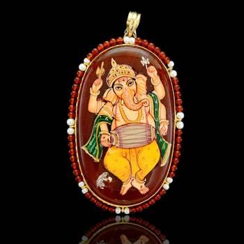 Lord Ganesha Tanjore Pendant