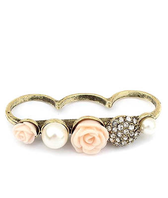 Pearl Rose Double Finger Ring-Pink