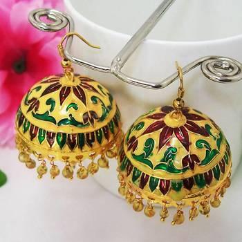 Meenakari Designer Jhumka Yellow Green Maroon