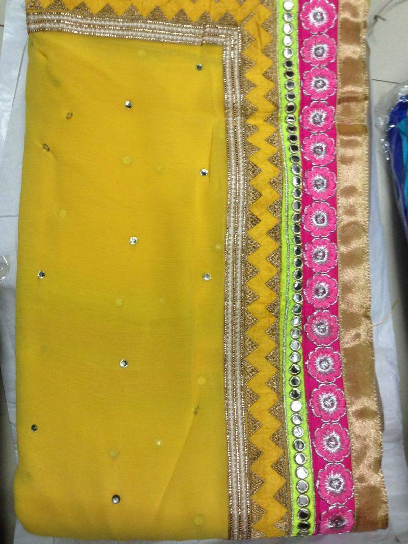 Buy yellow embroidered lace work and mirror work and for Mirror work saree